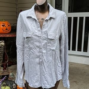 Cloth & stone pullover button up shirt top m gray